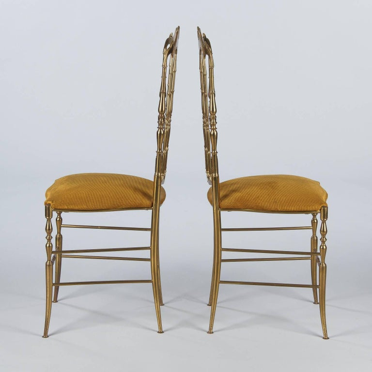 Pair of Brass Chiavari Chairs, Italy, 1960s In Good Condition For Sale In Austin, TX