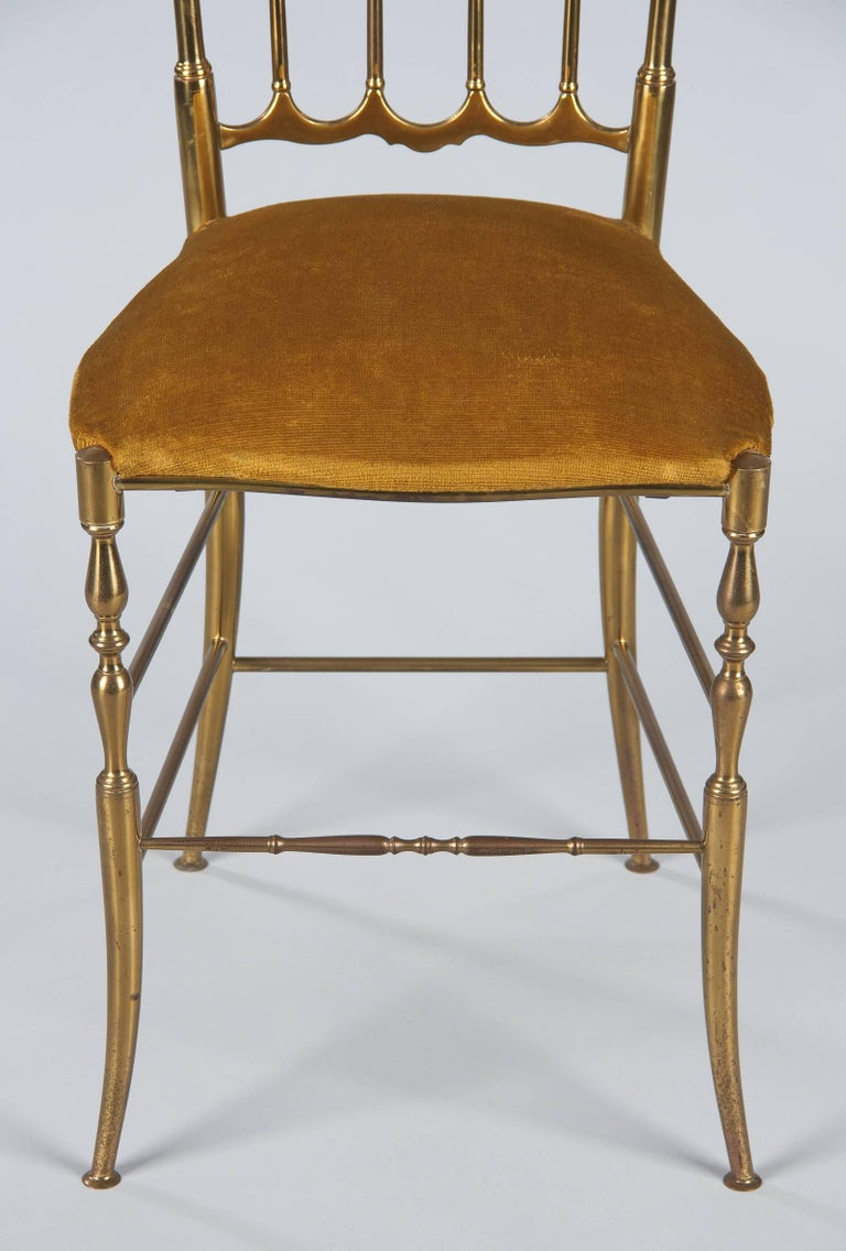 Fabric Pair of Brass Chiavari Chairs, Italy, 1960s For Sale