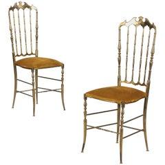 Pair of Brass Chiavari Chairs, Italy, 1960s