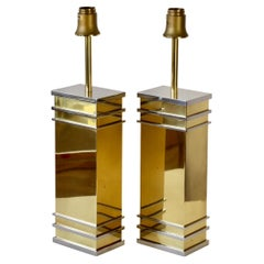 Pair of Brass & Chrome Maison Jansen Style Table Lamps by Vereinigte Werkstätten