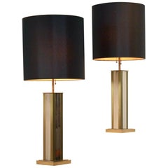 Pair of Brass Chrome Mid-Century Modern Willy Rizzo Table Lamps