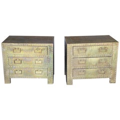 Pair of Brass Clad End Tables
