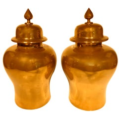 Pair of Brass-Clad Hardwood Temple Jars