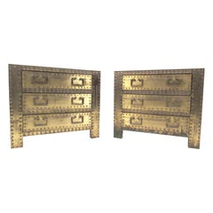 Pair of Brass Clad Three-Drawer Nightstands by Sarreid Ltd.