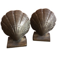 Pair of Brass Clam Shell Bookends