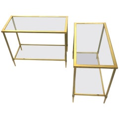 Pair of Brass Console Tables Attributed to Maison Jansen, France, 1970s