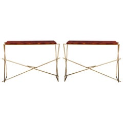 Pair of Brass Console with Lacquered Wood Top