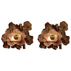 Pair of Brass & Copper Mid-Century Modern Brutalist Sconces, Italy, 1970s