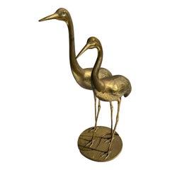 Pair of Brass Crane Sculptures