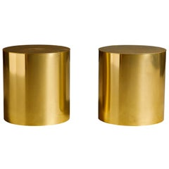 Pair of Brass Cylinder Drum Side Tables, circa 1970s, Made in England
