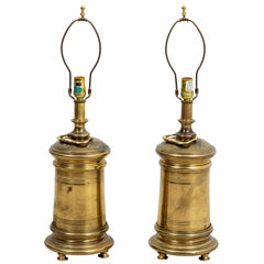 Pair of Brass Cylinder Lamps by Stiffel