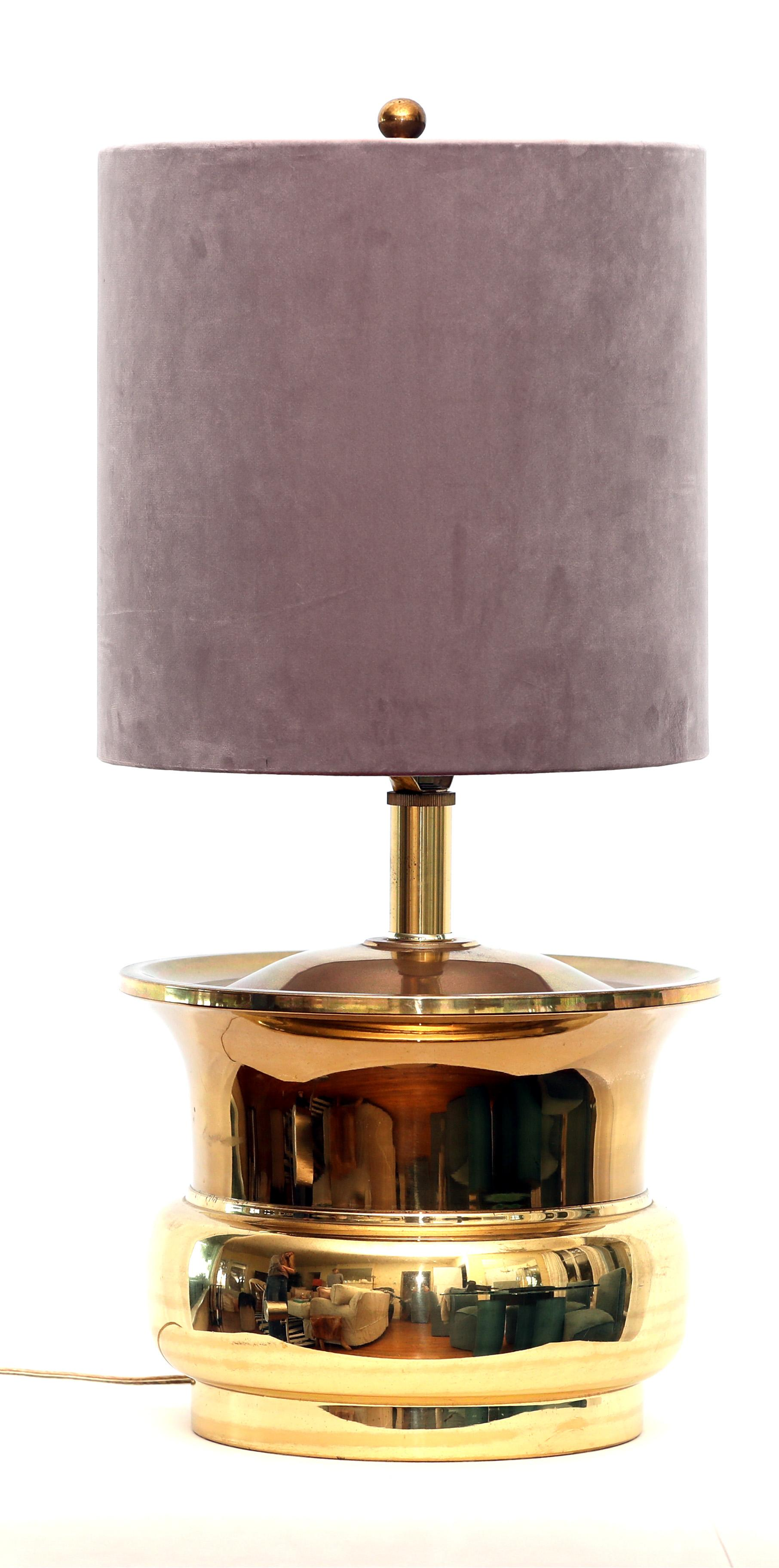 Pair Of Brass Cylinder Lamps With Dusty Lavender Velvet Shades By Carol  Cahill