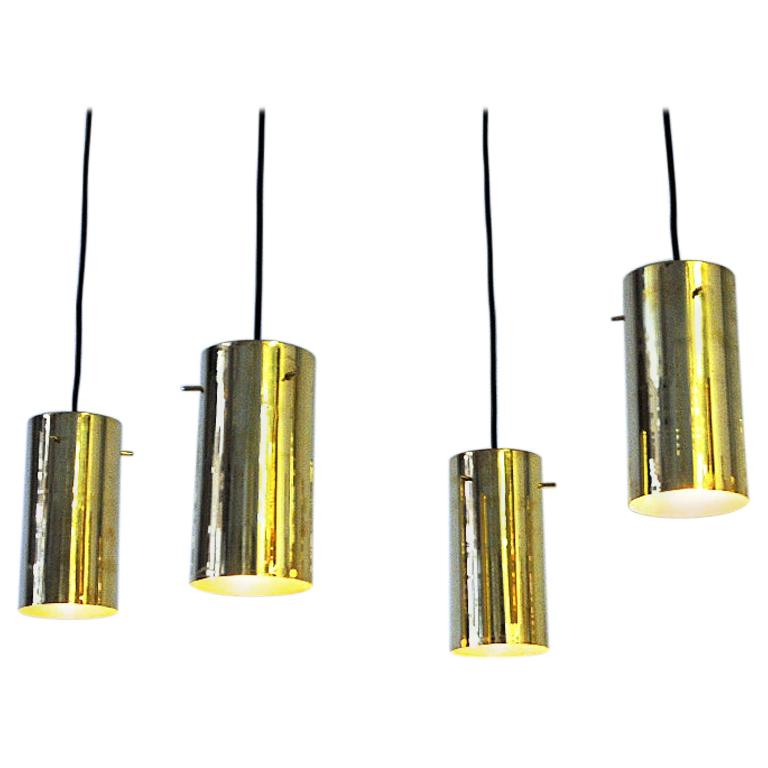 Pair of Brass Cylinder Shaped Ceiling Pendants by Hans A. Jakobsson 1960s Sweden