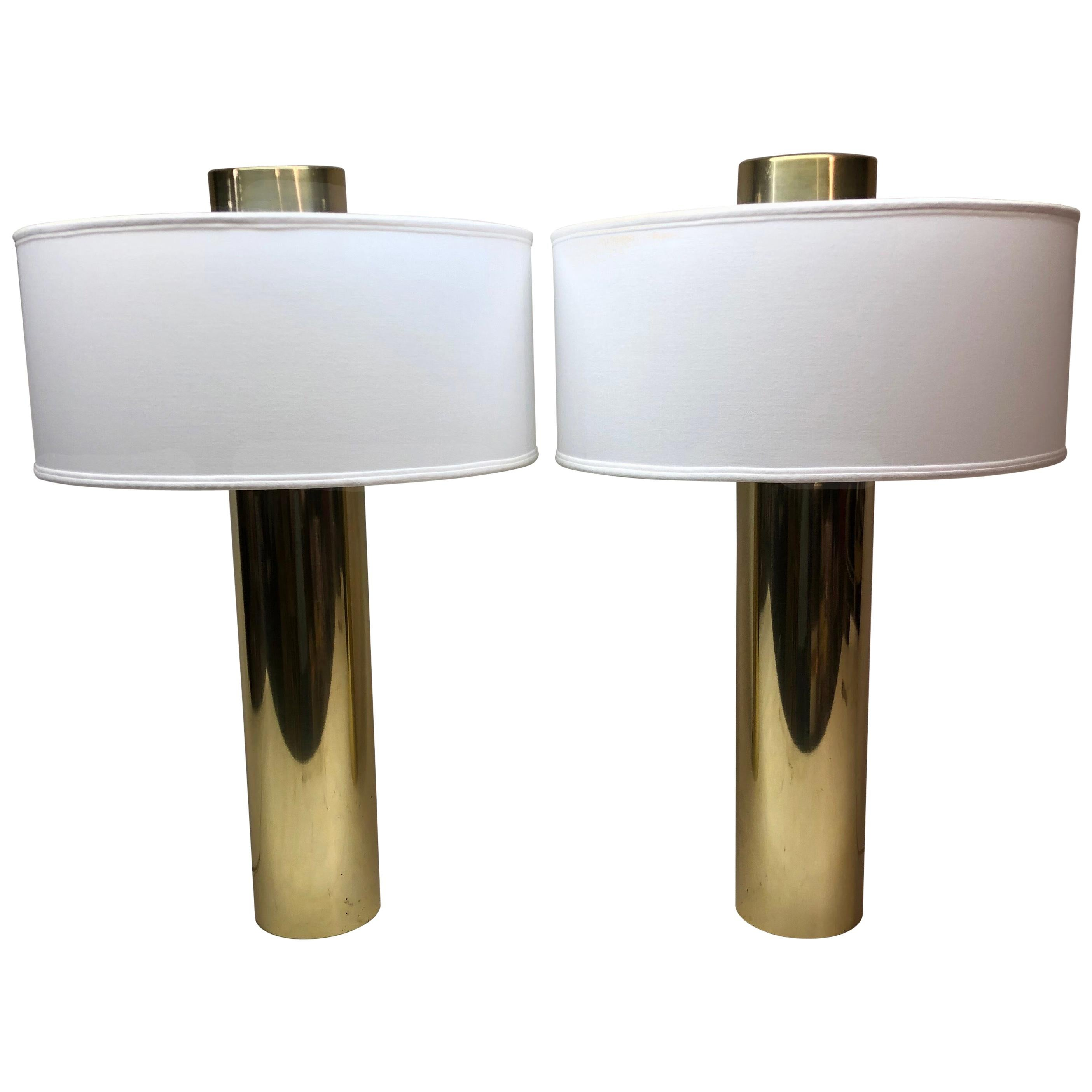 Pair of Brass Cylinder Table Lamps