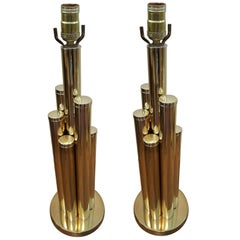 Pair of Brass Cylinders Lamps