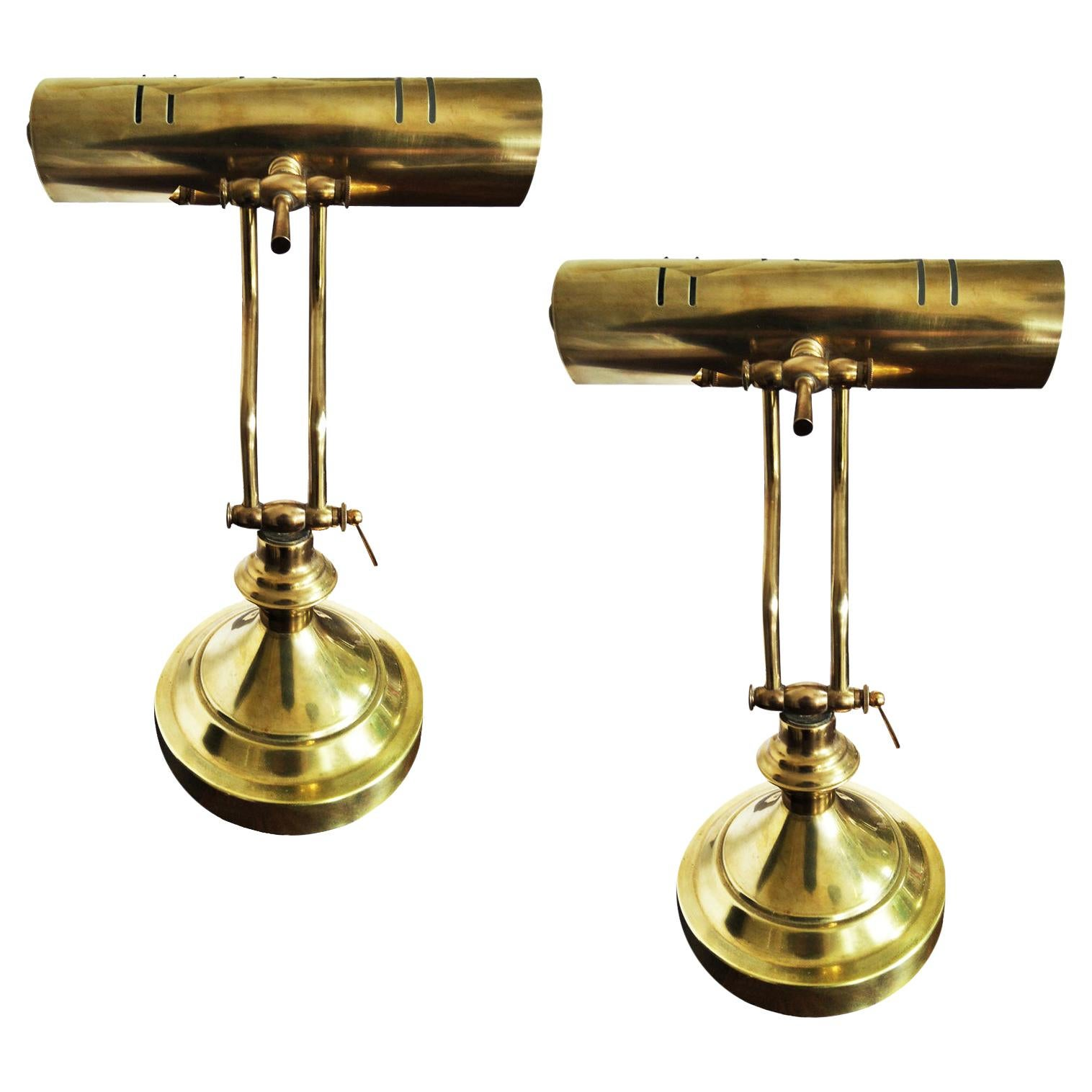 Pair of Brass Desk Lamps, 20th Century