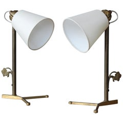 Pair of Brass Desk Lamps with Silk Shades, France, 1950s