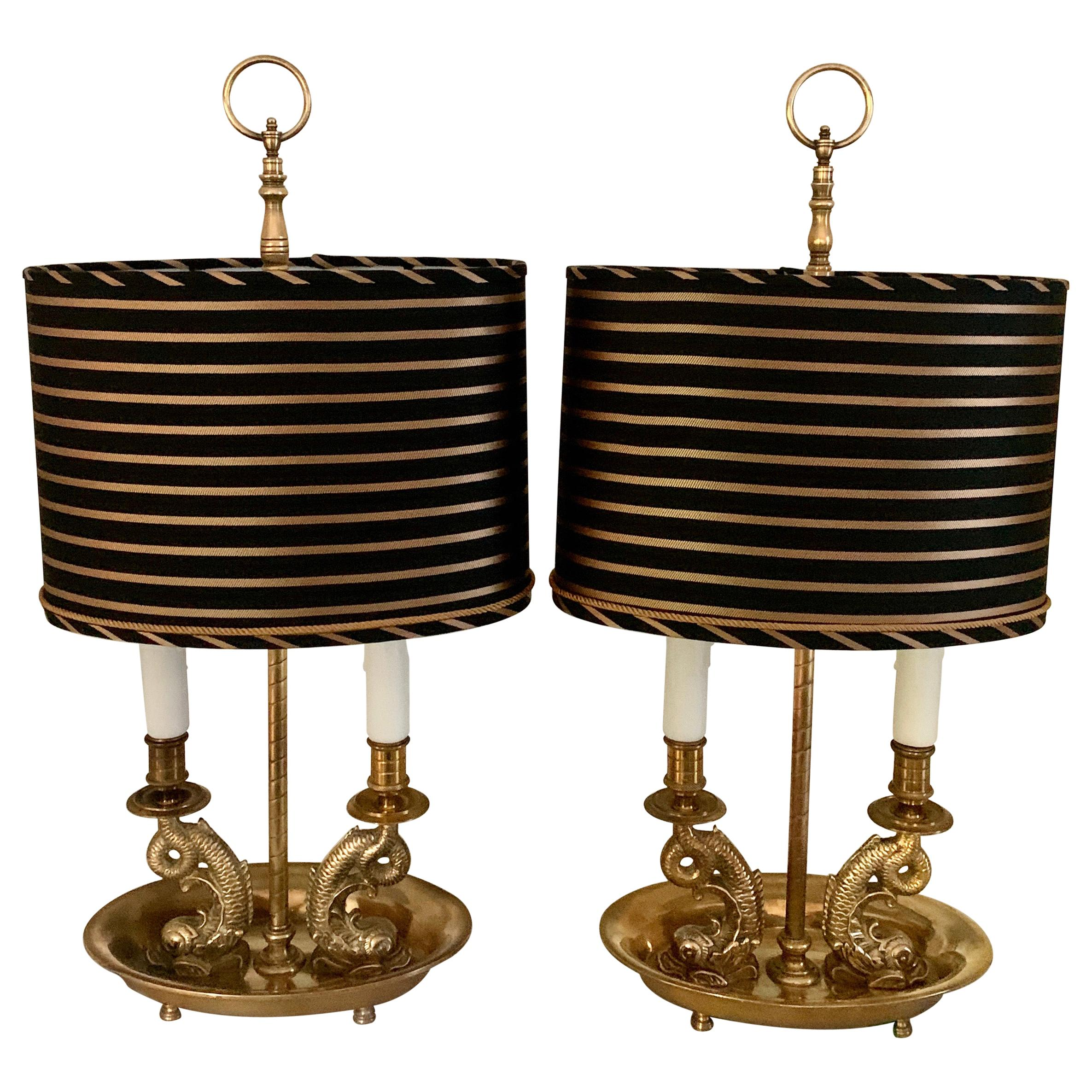 Pair of Brass Dolphin Bouillotte Lamps with Custom Silk Shades