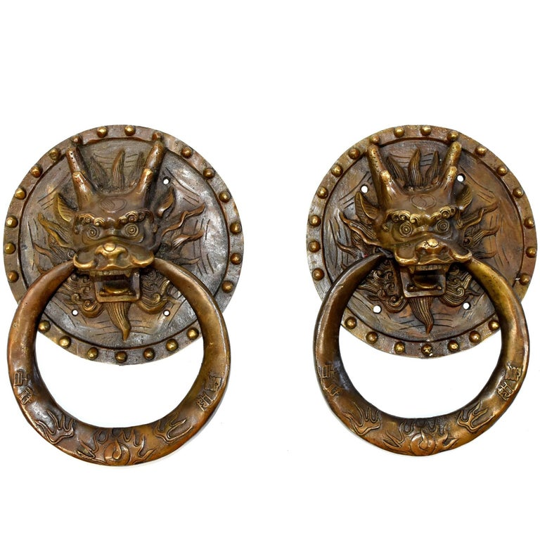 Pair of Brass Door Knockers, Dragon with Round Plates For Sale - Pair Of Brass Door Knockers, Dragon With Round Plates For Sale At