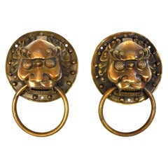 Pair of Brass Door Knockers, Warrior Motif, Medium