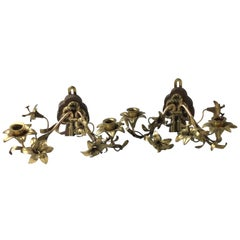 Pair of Brass Double Arm Floral Candle Wall Sconces