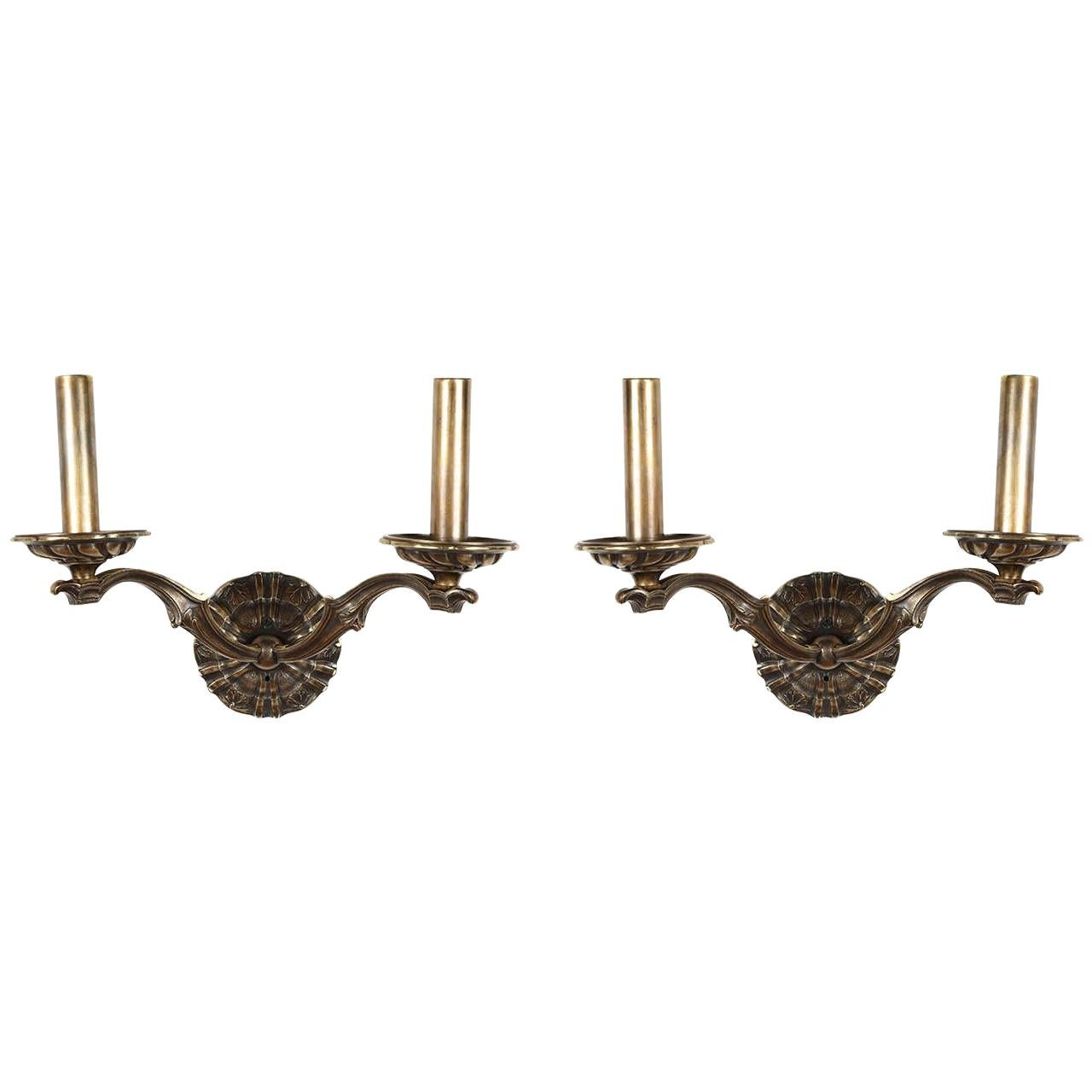 Pair of Brass Double Sconces