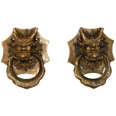 Pair of Brass Dragon Door Knockers, Medium