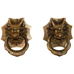 Pair of Brass Dragon Door Knockers, Small