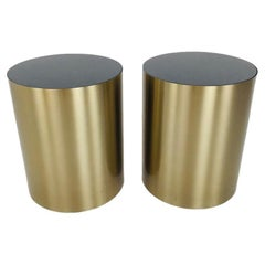 Pair of Brass Drum Tables with Marble Top