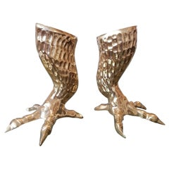 Pair of Brass Eagle Talon Candlesticks