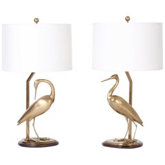 Pair of Brass Egret Bird Table Lamps