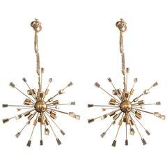 Pair of Brass Eighteen-Light Sputnik Chandeliers in the Mid-Century Modern Style