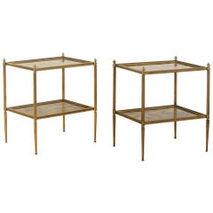 Pair of Brass End Tables