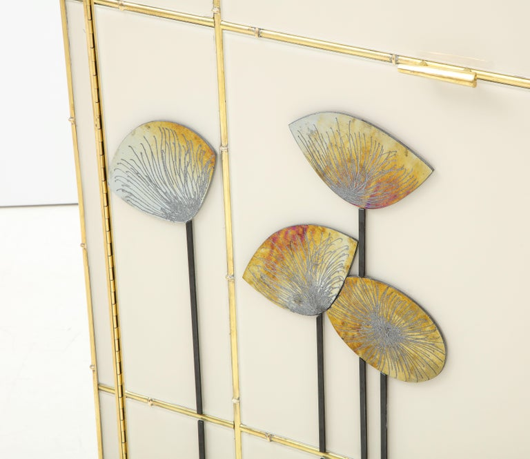 Pair of Brass Faux Bamboo and Ivory Murano Glass
