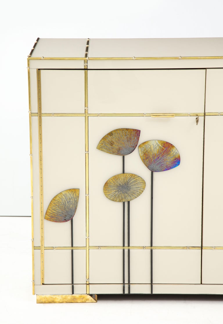 Mid-Century Modern Pair of Brass Faux Bamboo and Ivory Murano Glass