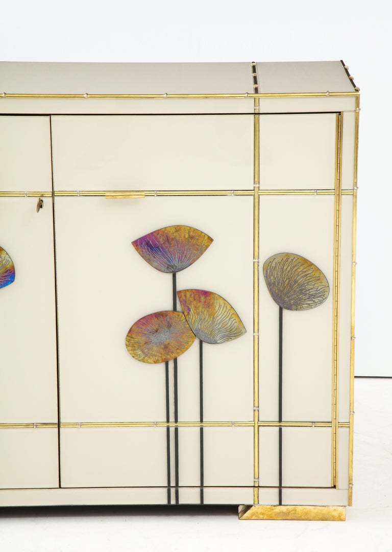 Italian Pair of Brass Faux Bamboo and Ivory Murano Glass