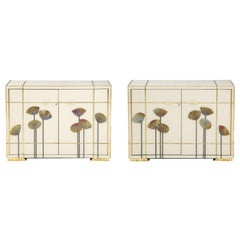 "Pair of Brass Faux Bamboo and Ivory Murano Glass ""Dandelions"" Sideboards, Italy"