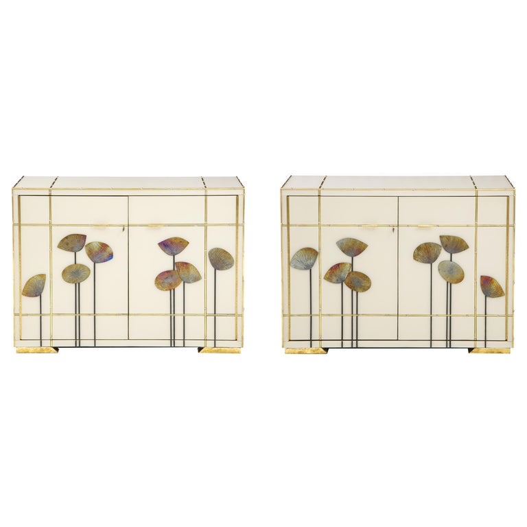 "Pair of Brass Faux Bamboo and Ivory Murano Glass ""Dandelions"" Sideboards, Italy For Sale"