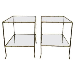 Pair of Brass Faux Bamboo Side Tables