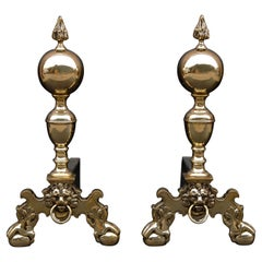 Pair of Brass Firedogs with Flame Finials