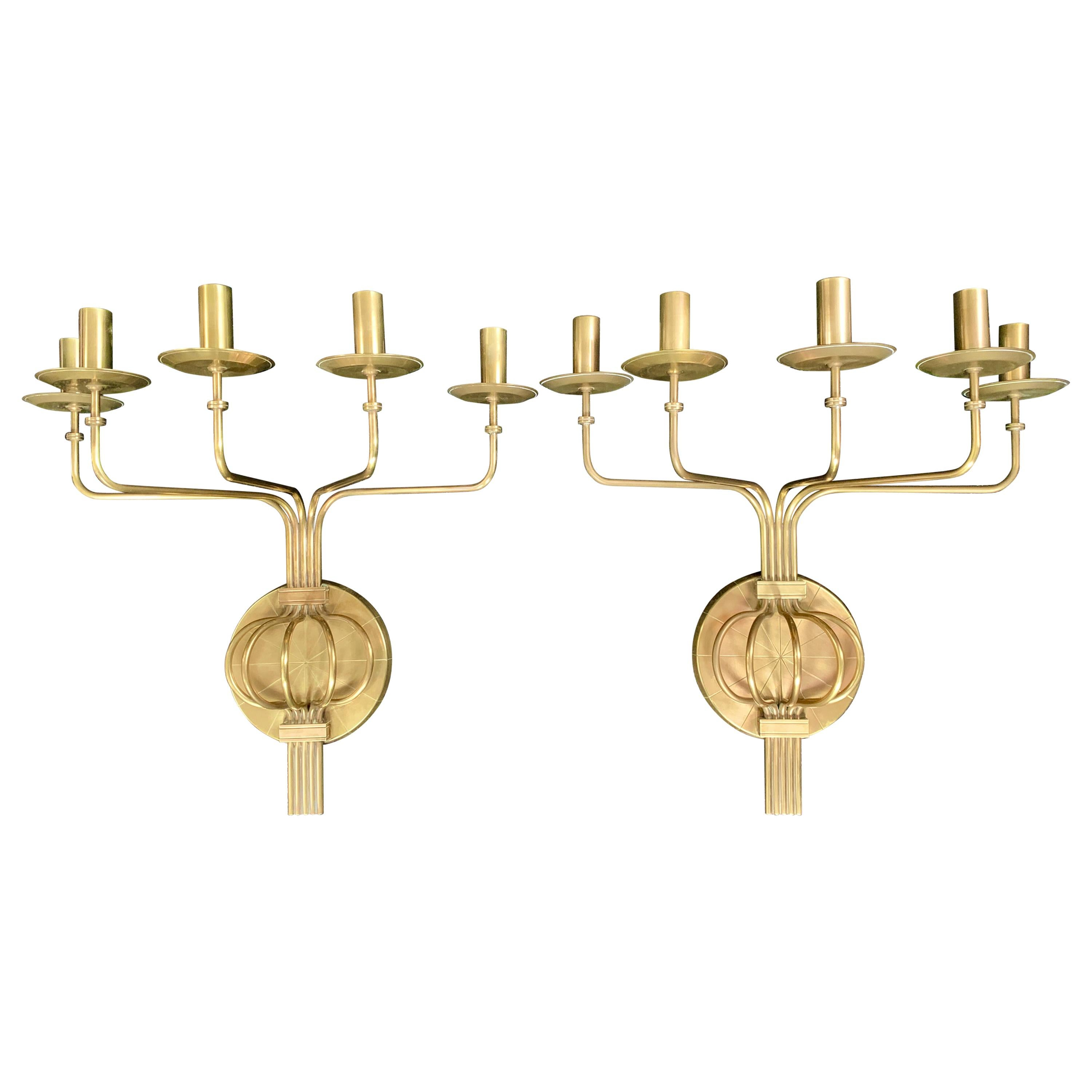 Pair of Brass Five Arm Hollywood Regency Wall Sconces by Tommi Parzinger