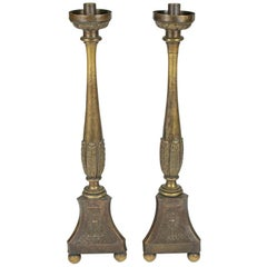 Pair of Brass Floor Candelabra with the Symbol of the Eucharist