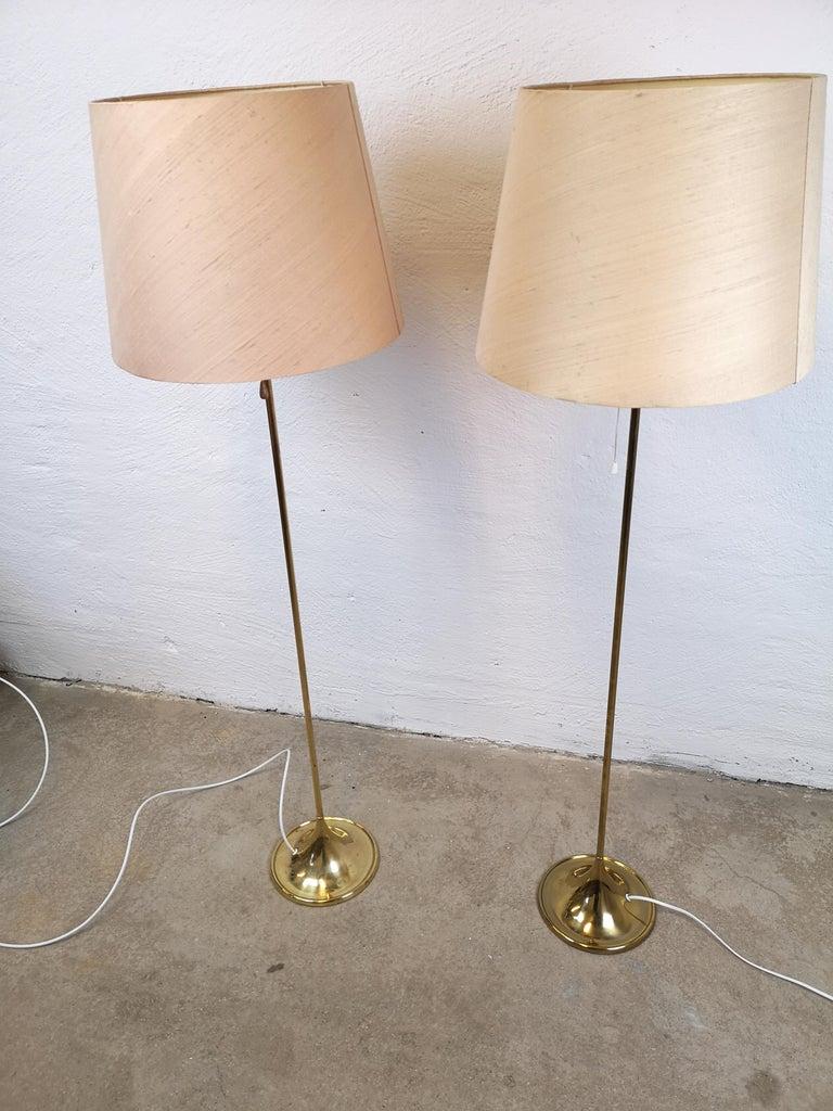 Scandinavian Modern Pair of Brass Floor Lamps Bergboms G-025 For Sale