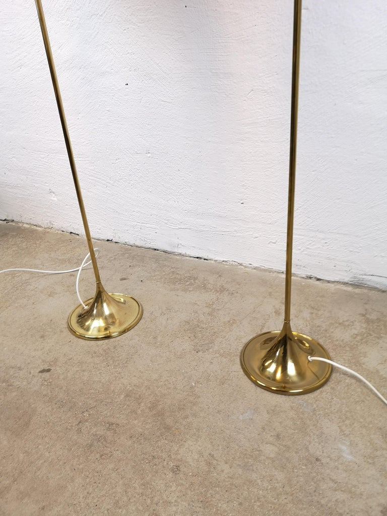 Swedish Pair of Brass Floor Lamps Bergboms G-025 For Sale