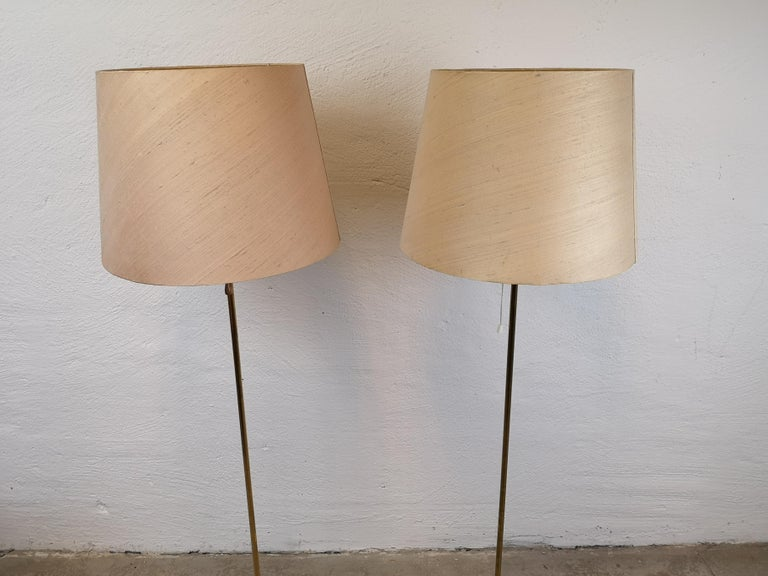 Mid-20th Century Pair of Brass Floor Lamps Bergboms G-025 For Sale