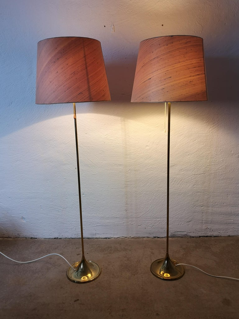 Pair of Brass Floor Lamps Bergboms G-025 For Sale 2