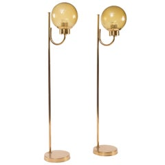 Pair of Brass Floor Lamps by Bergboms Model G-118, 1970s