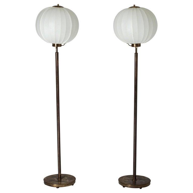 Pair of Brass Floor Lamps by Bertil Brisborg for Nordiska Kompaniet