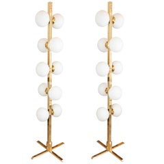 Pair of Brass Floor Lamps with Glass Globes