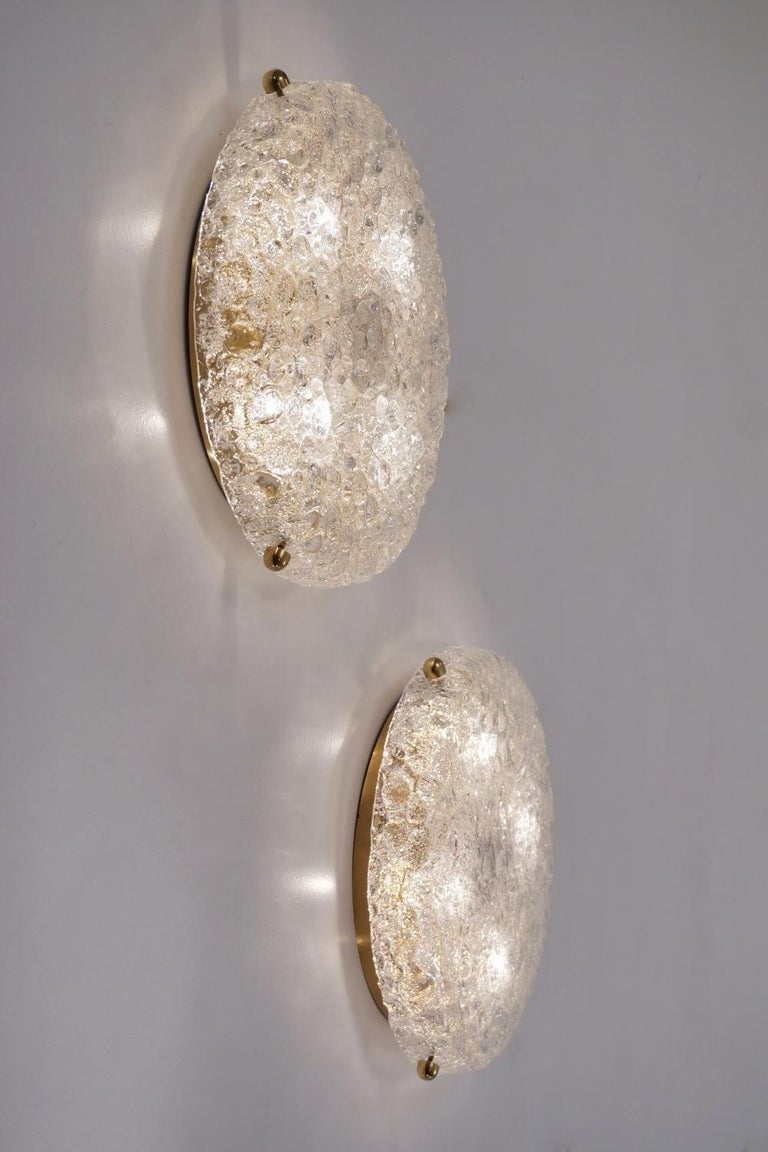 Pair of Brass Flush Lights with Glass Shade by Hillebrand, circa 1970s, German For Sale 3
